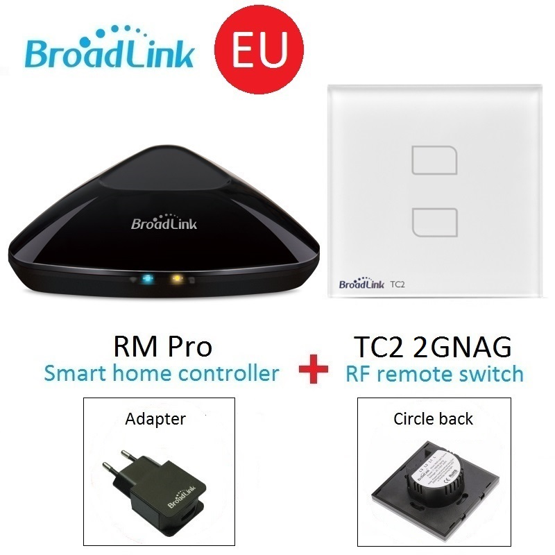 Broadlink RM Pro Universal wireless remote controller+TC2 EU 2gang Wall Switch Smart home Automation by smart phone IOS Android светодиодный рекламный экран dz 5 1 j1d 027 jndx 1 s d