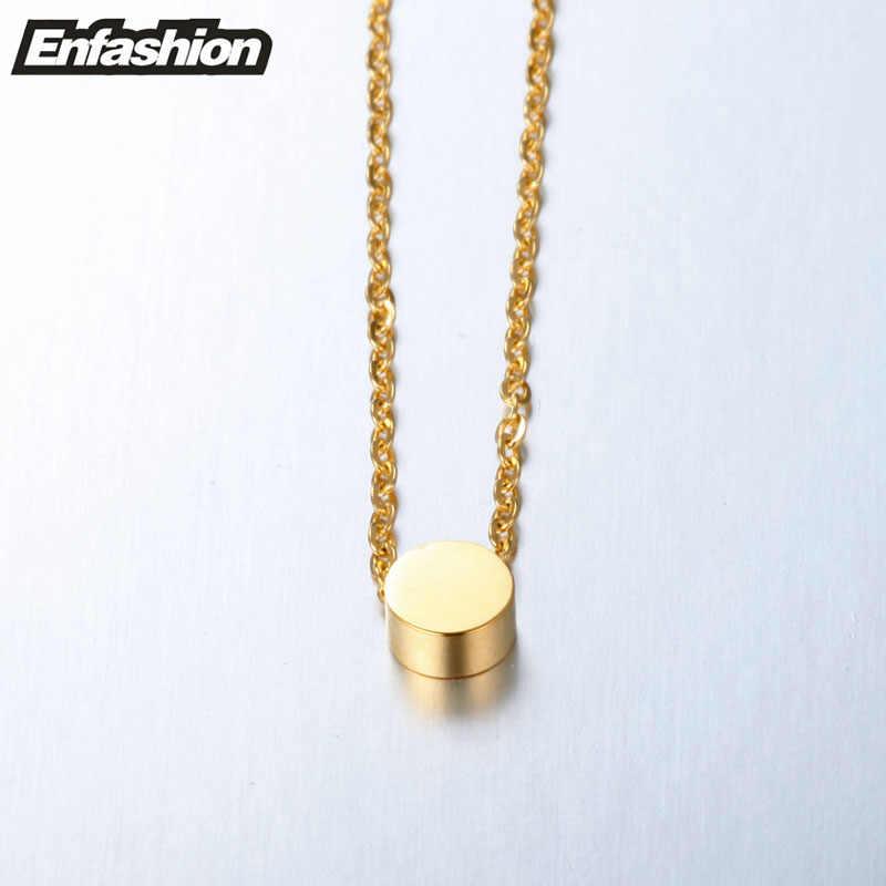 Enfashion geometryczny Mini naszyjnik z ogniwami w kształcie kół różowe złoto kolor naszyjniki wisiorki naszyjnik ze stali nierdzewnej kobiety chocker biżuteria