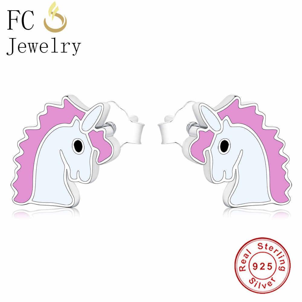 2e4580ebc FC Jewelry 925 Sterling Silver Tiny Cute Small Pink Enamel Pony Unicorn Horse  Stud Earrings Girl