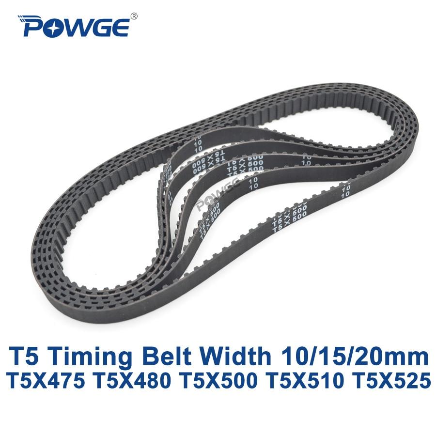 POWGE T5 Synchronous timing belt C=475/480/500/510/525 Width 10/15/20mm Teeth 95 96 100 102 105 Rubber T5X480 T5X500 T5X510