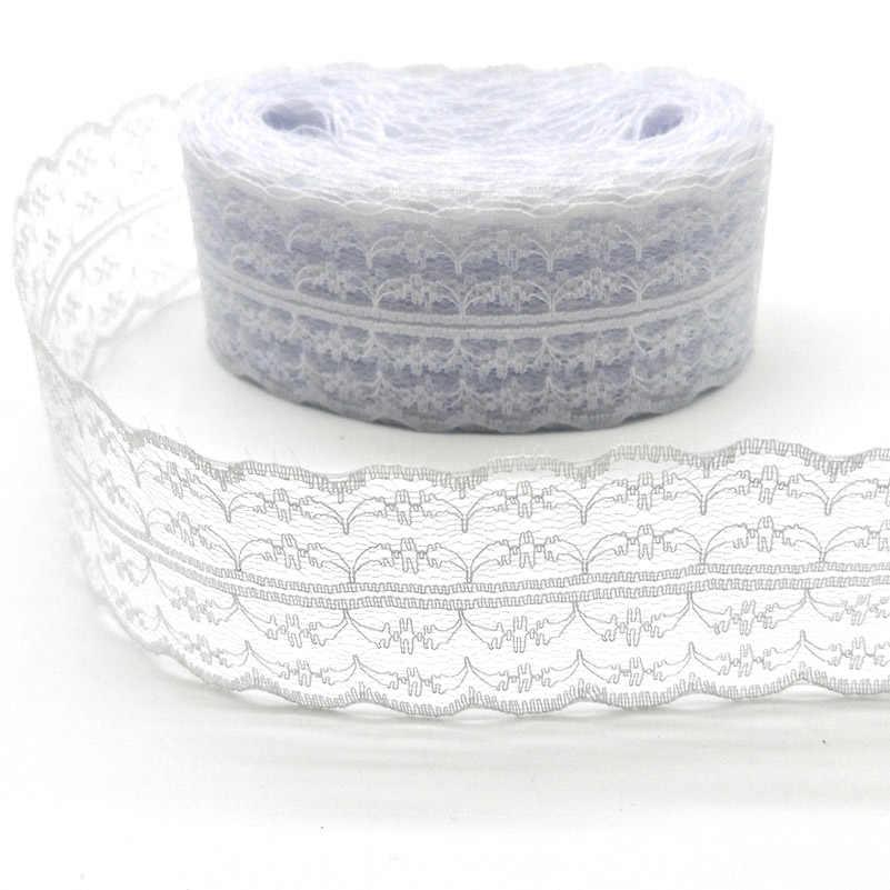 아름 다운 10 야드 고품질 흰색 레이스 리본 테이프 45mm 레이스 트림 diy 수 놓은 장식 수 놓은 아프리카 레이스 패브릭