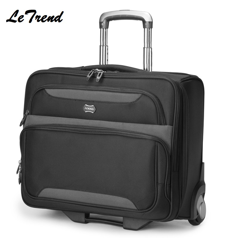 Letrend Business Rolling Luggage Casters Trolley Men Cabin Computer Wheel Suitcases Travel Duffle Handbag Carry On Trunk