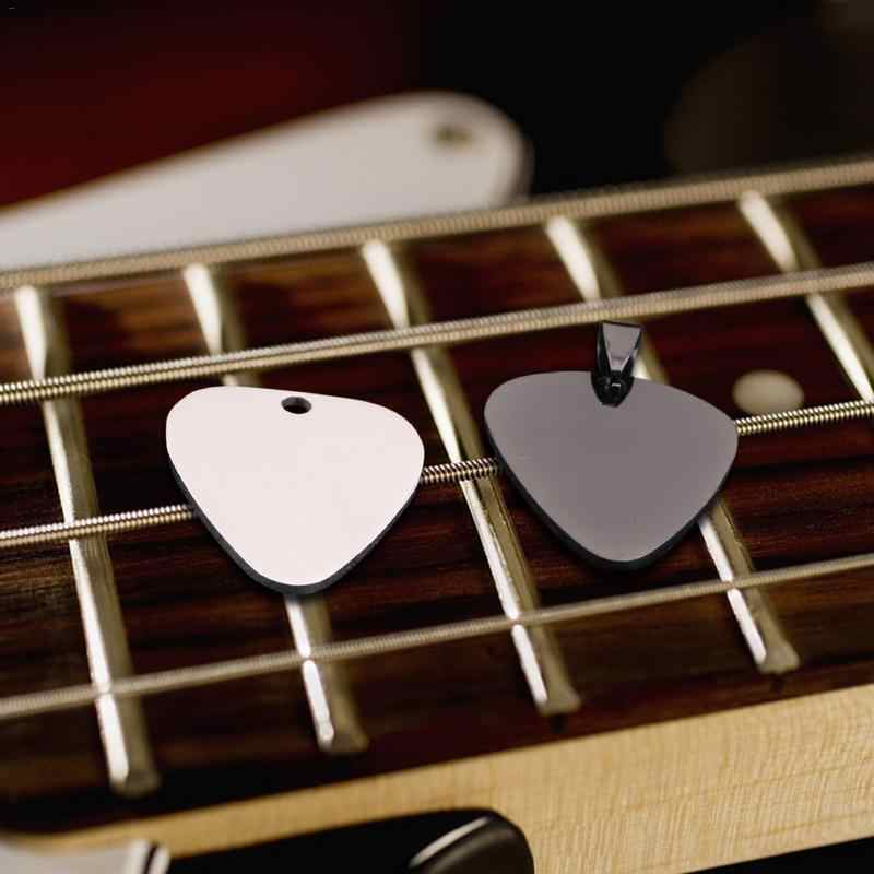 Flanger Guitar Picks Stainless Steel Glossy With Necklace Guitar Picks DIY Pendant Strips Chain Necklaces Jewelry Picks 1.0mm