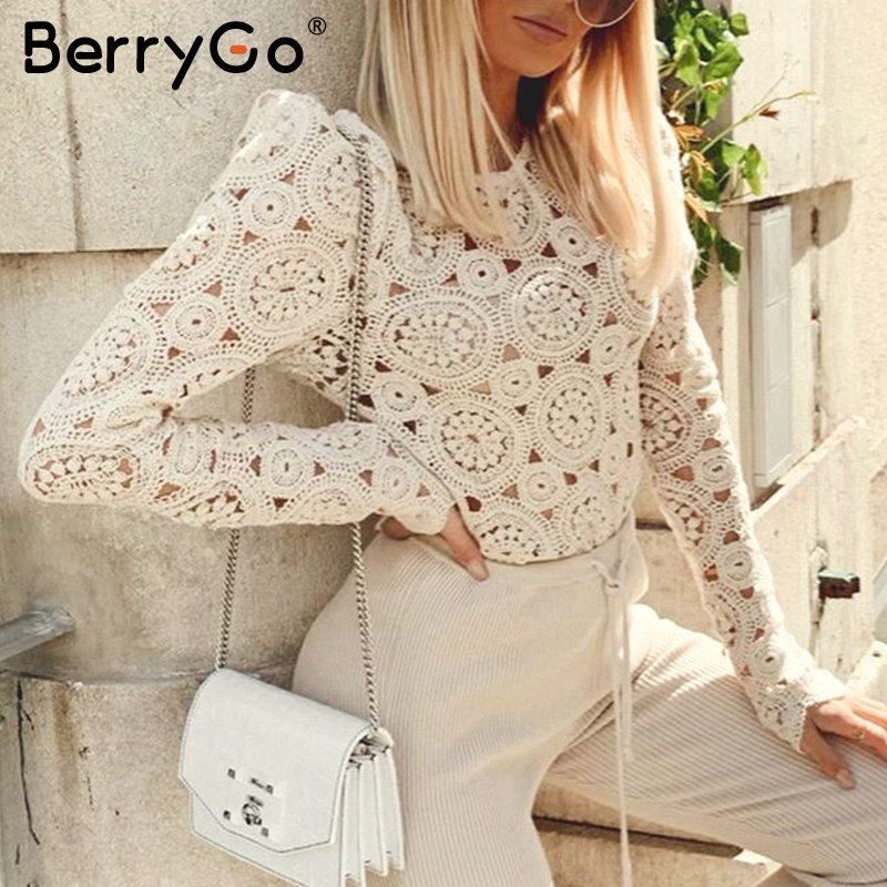BerryGo Elegant Long Sleeve Lace Blouse Women Hollow Out Embroidery Female Knitted Pullover Tops Casual Chic Ladies Blouses Tops