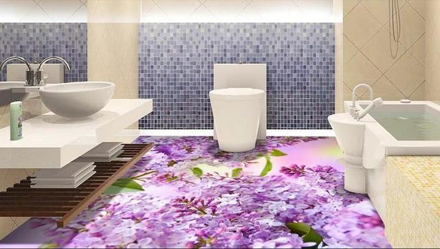 Photo Wallpaper Customize 3d Flooring Wallpaper 3D Beautiful Flowers  Wallpaper Living Room Bathroom 3d Floor Tiles Part 44