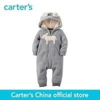 Carter's 1pcs baby children kids boy fall winter clothing 3D ears Spun heather fleece Hooded Fleece Jumpsuit 118G705
