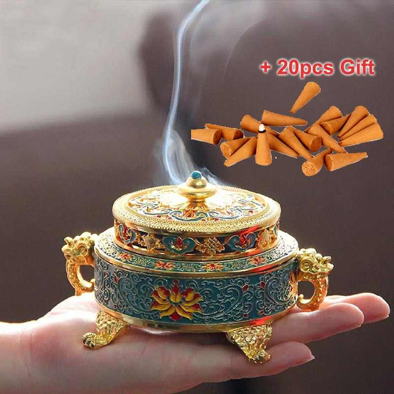 ERMAKOVA Incense Burner Holder Metal Tibetan Style Painted Enamel Zinc Alloy Coil Incense Crafts Home Office Decoration Gift