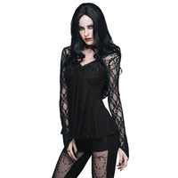 Palace Slim Fitting Sexy T Shirts Gothic Deep V Neck Black Lace Shirt Long Sleeve Hollow