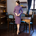 Shanghai Story vestidos Faux Woolen cheongsam qipao vintage 3/4 Sleeve Cheongsam chinese traditional dress national trend dress