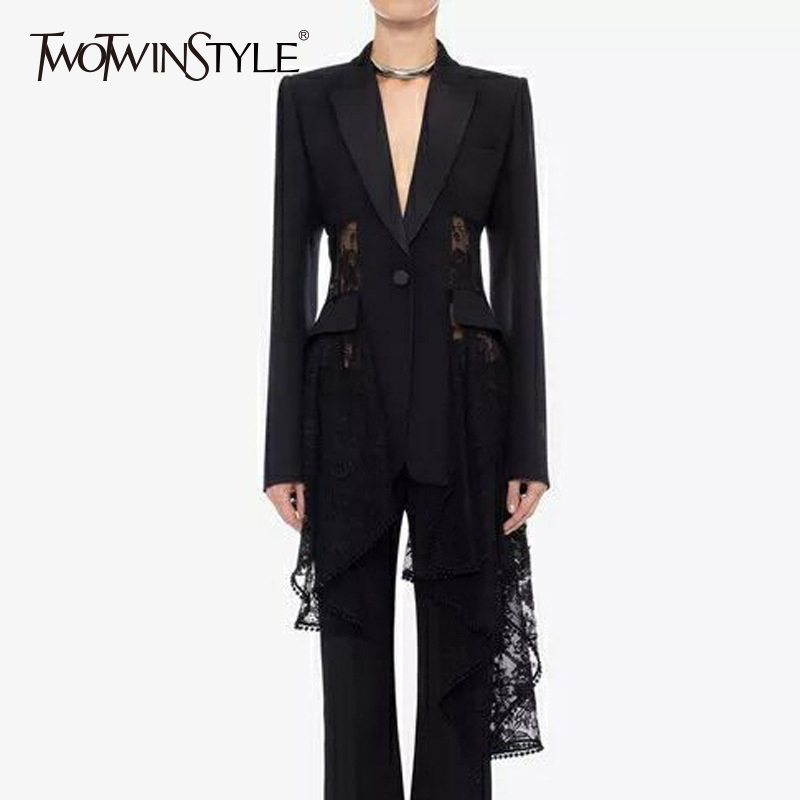 TWOTWINSTYLE Lace Blazer Female Patchwork Hollow Out High Waist Asymmetrical Coats Large Size Womens 2019 Autumn