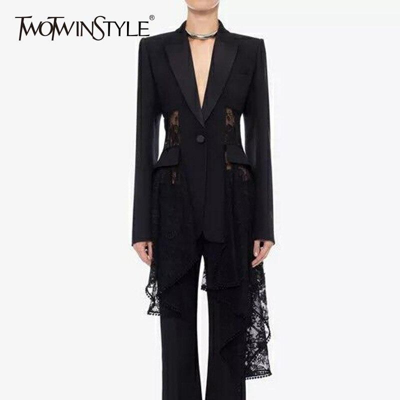 TWOTWINSTYLE koronki marynarka kobiet Patchwork Hollow Out wysokiej talii asymetryczna płaszcze duży rozmiar kobiet 2019 jesień Sexy odzież w Marynarki od Odzież damska na  Grupa 1