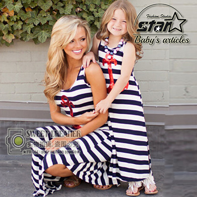 2016 New Summer Family Fashion Cartoon Mom Girl Dress Cute Family Set Clothes for Mother and Daughter Beach Maxi Long Dress
