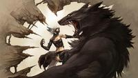 women fighting fantasy art vampires creatures artwork wolves werewolves 4 Sizes Silk Fabric Canvas Poster Print