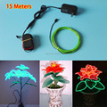 1.3mm (15Metre) Flexible EL Wire Rope Glowing Neon LED Light With 1PCS AC110V-220V EL Driver good For Household Scene Decoration