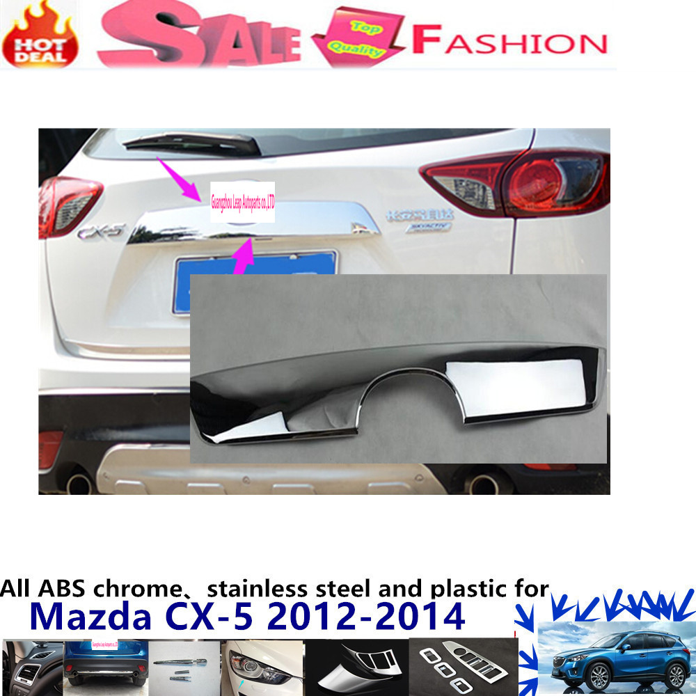 For Mazda CX-5 CX5 2012 2013 2014 car body styling detector ABS chrome Rear door Tailgate frame plate moulding trim lamp 1pcs  high quality car styling cover detector abs chromium tail back rear license frame plate trim strips 1pcs for su6aru outback 2015