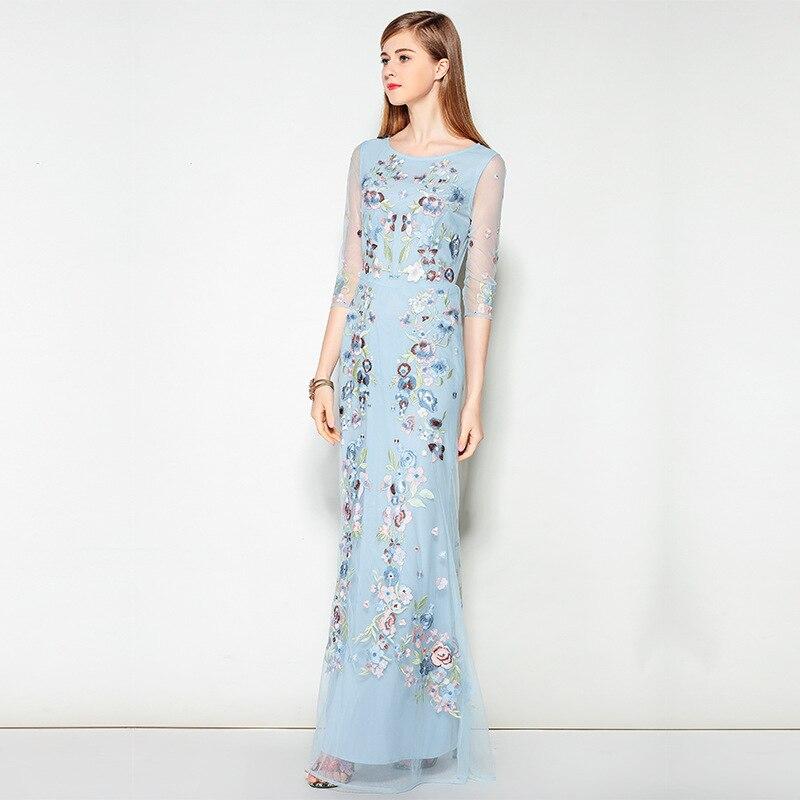 Hiver Brodé Robe Femmes Dhl Haute Maxi Automne Floral Maille Longue Ciel Vintage 2017 Nouvelles Bleu Qualité De Gaine Livraison Piste PqxadzwXx