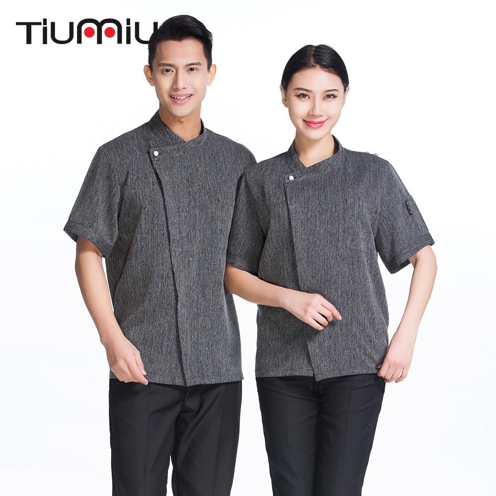 High Quality New Arrival Chef Uniform Women Men Short-sleeve Kitchen Restaurant Bakery Sushi Chef Jacket Waiter Workwear Uniform