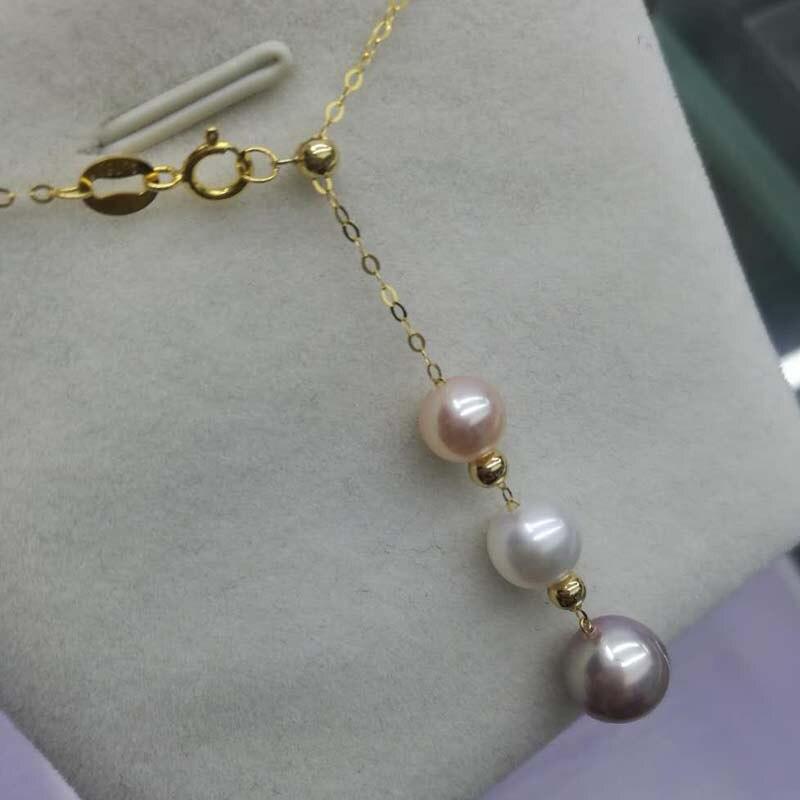 Nuovo G18K Catena di 6-8mm rotondo reale della perla del pendente della collana di trasporto liberoNuovo G18K Catena di 6-8mm rotondo reale della perla del pendente della collana di trasporto libero