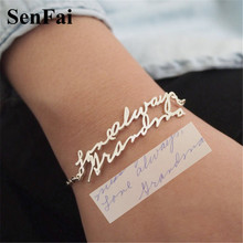 Senfai Custom Bracelet For Women Men Personalized Handwriting Signature Name Gold Silver Customize Bracelets Bangles Jewelry