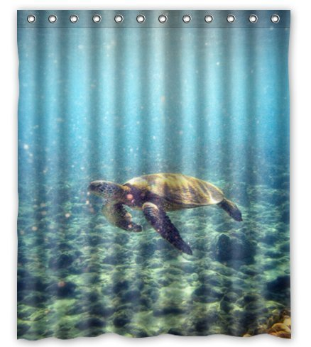 CHARMHOME Home Fashions Sea Life Shower Curtain Blue 60x72 Turtle