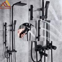 Quyanre Matte Black Chrome Shower Faucets Set Brass 5 way Button Control Mixer Tap SPA Massage Jets Shower Bidet Bath Shower Set