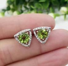 natural olivine earrings 925 silver Natural peridot gemstone earring women fashion elegant Triangle  fine earrings for party
