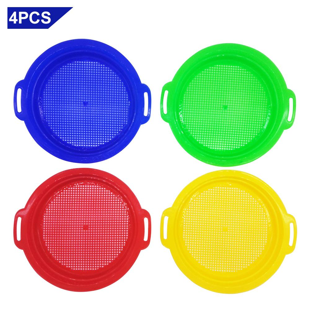 Stop Sand Sifter Sieves Toy For Sand Beach 4 Pack Set Red Blue Yellow Green For Children Kids Toy