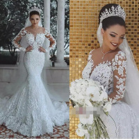 Vestido de noiva Sexy Long Sleeves Lace Wedding Dress 2018 New See Through Back Lace Mermaid Robe de mariee Custom Bride Dress