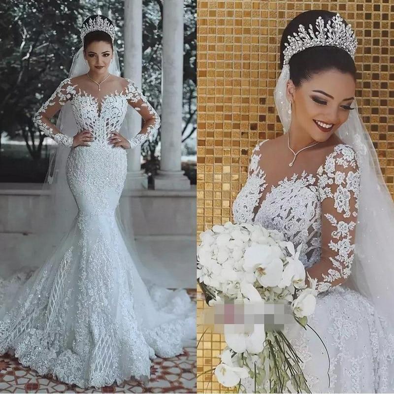 Vestido de noiva Sexy Mangas Compridas Rendas Do Vestido de Casamento 2018 Nova Ver Através Voltar Lace Sereia Robe de mariee Custom vestido de noiva