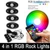 4Pcs RGB LED Work Light Mini Rock Pods Bluetooth Control Multi Function Wireless For Jeep Wrangerl