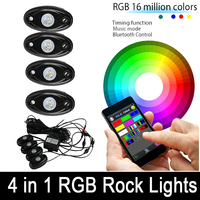 4Pcs RGB LED Work Light Mini Rock Pods Bluetooth Control Multi Function Wireless For Jeep Wrangerl