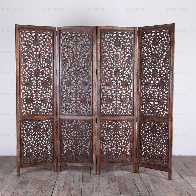 Air India Imported Hand Carved Solid Wood Folding Screen