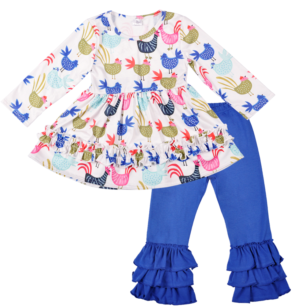 New 2018 Baby Clothes Fall Boutique Toddler Outfits Hem Pattern 2 PCS Kids Blue Ruffle Pants Children Clothing Sets 2GK801-090 girls boutique clothing halloween costume black pullover shirts zebra pattern ruffle pants cotton outfits baby clothes h006