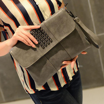 2017 Fashion gray black Casual zipper envelope clutch bag for womens summer Rivet vintage small black elegant women clutch bag
