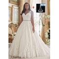 Plus Size Vestido de Noiva Bordados Lace Apliques em Tulle Bola Vestido de Noiva Vestido com Scalloped Hemline