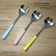 1pc Large Size Stainless Steel Spoon Fork Salad Spoon With Ceramic Long Handle Tableware Flatware for Dessert 24.5cm