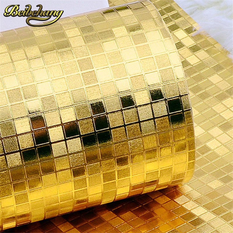 beibehang Luxury glitter mosaic wallpaper roll TV background 3D mural wall paper gold foil silver wall covering Home Decoration bacaz sold color glitter wallpaper fabric golden wall paper glitter wedding carpets textile wall covering 137cmx10m by2173 1
