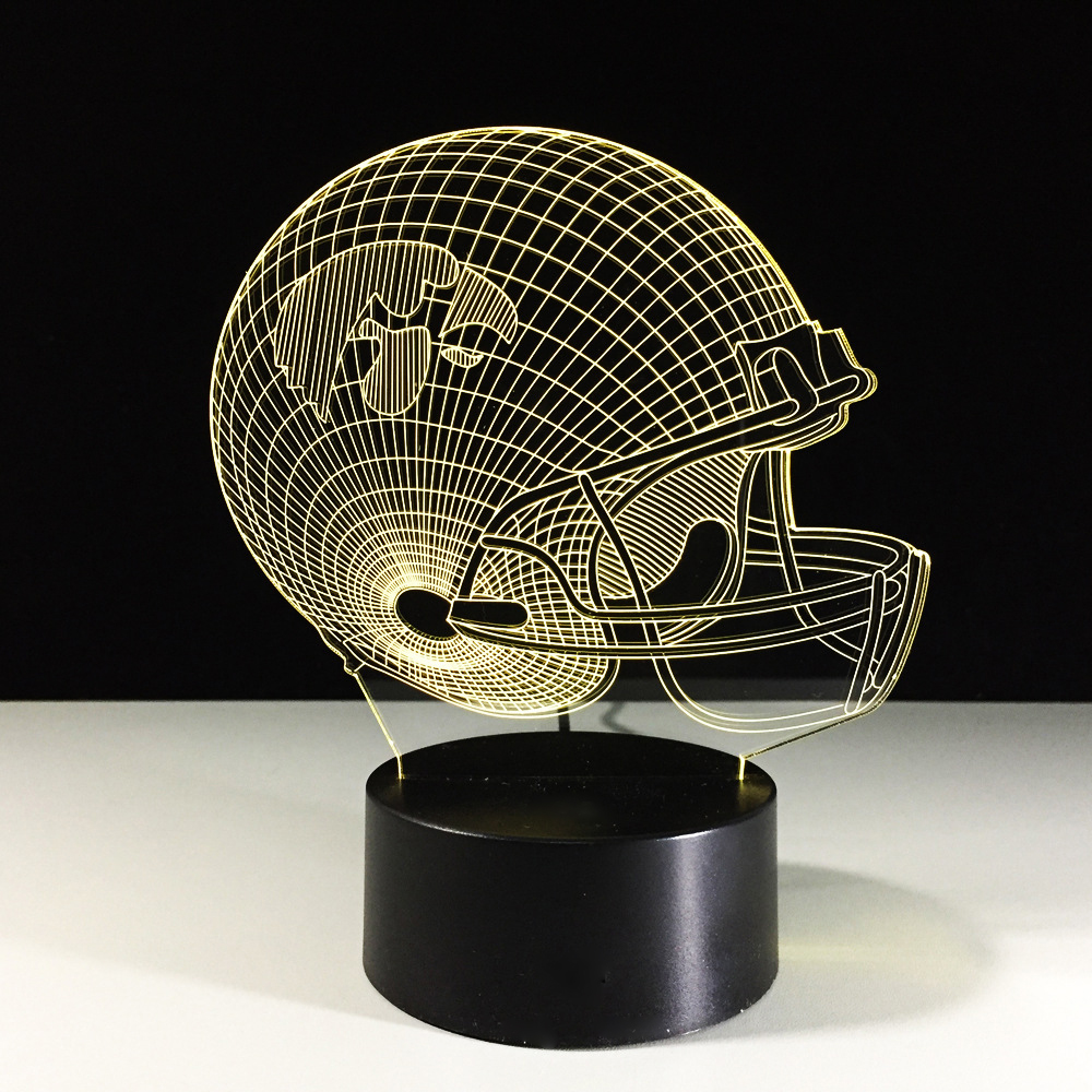 Novelty Football Helmet 3D LED Night Light 7 Color Changing Rugby Cap Table Lamp Home Decor Gifts Lampara Sleep Light Fixture