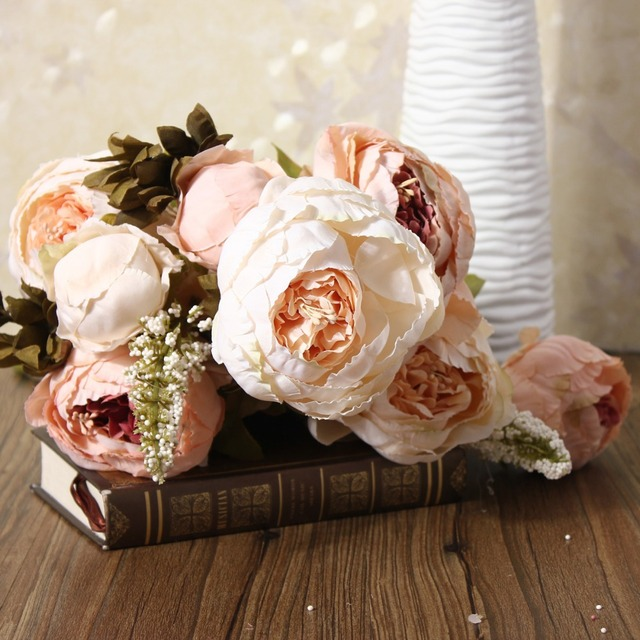 Aliexpress buy euro style artificial peony silk flower bouquet euro style artificial peony silk flower bouquet autumn fake rose leaf wedding party home decor flower mightylinksfo
