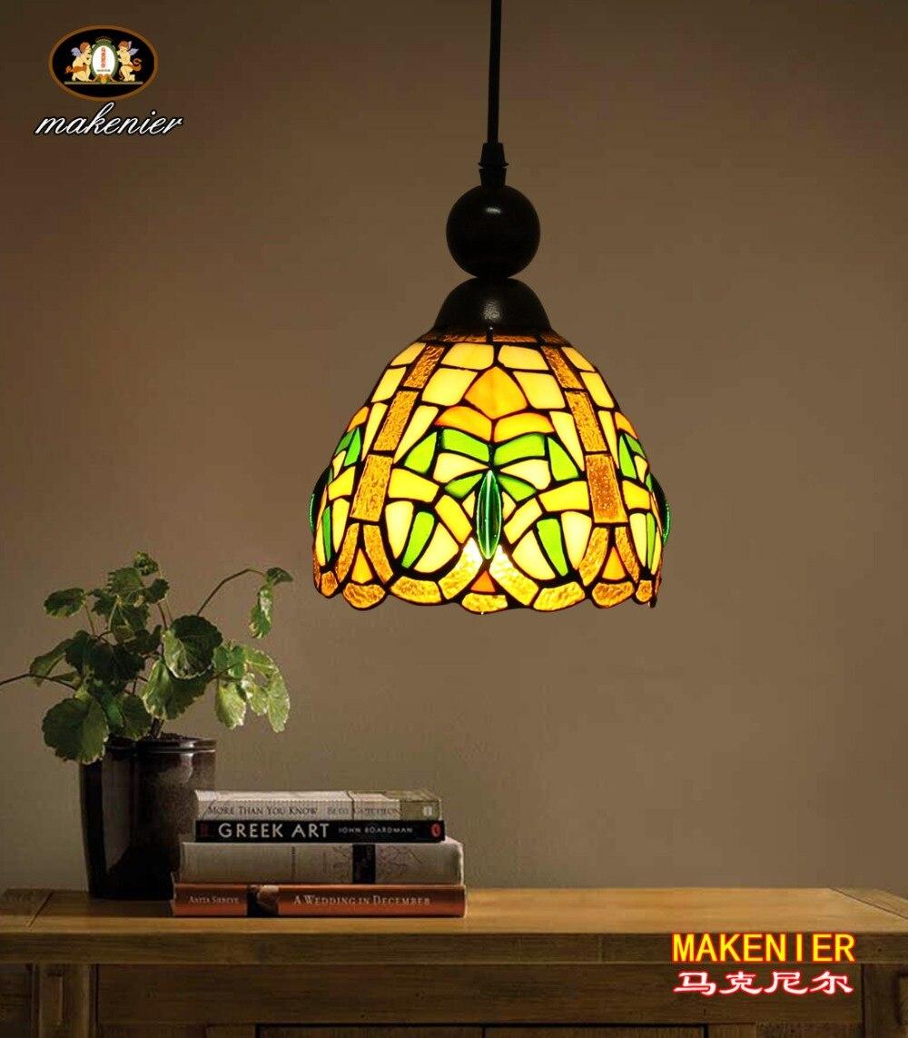 Makenier Tiffany Style vitrail motif décoratif Vintage petite suspension, 7 pouces abat-jour