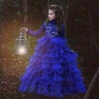 Royal Blue Ball Gown Flower Girl Dresses Long Sleeve Scoop Neck Little Girl Wedding Ruched Ruffle