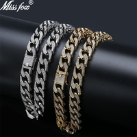 Missfox Hot Selling Street Miami Style Cuban Necklace Men Zircon Golden&silver Trendy Copper Metal Jewelry Hip Hop Top Quality