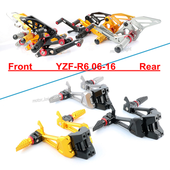 CNC Motorcycle Foot Pegs Set With Bracket Mount Front&Rear Passenger Footrest For YAMAHA YZF R6 06 07 08 09 10 11 12 13 14 15 16