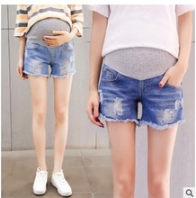 2019top quality NEW Summer Deep Blue Maternity Short Jeans Pregnant Woman Belly Shorts High Quality M-XXL