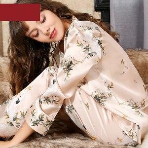Image 3 - Sexy black 100% silk pajama sets women cute parrot Digital painting long sleeve elegance genuine silk noble pyjamas women