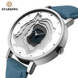 Image 4 - STARKING Brand Retro Vintage Type WristWatch Blue Leather High Quality Earth Conception Simplicity Watch Quartz Relogio Feminino