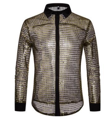 European Fashion Men's Plaid Shirts Autumn And Winter Glitter Big Body Point Scale Night Shop Design Men's Long Sleeve Shirt 7