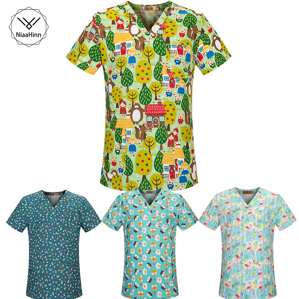 Fashion Print Scrubs Tops V-Neck Short Sleeves Top With Two Large Pockets Beauty And Health Workwear Nursing Uniform SPA Uniform