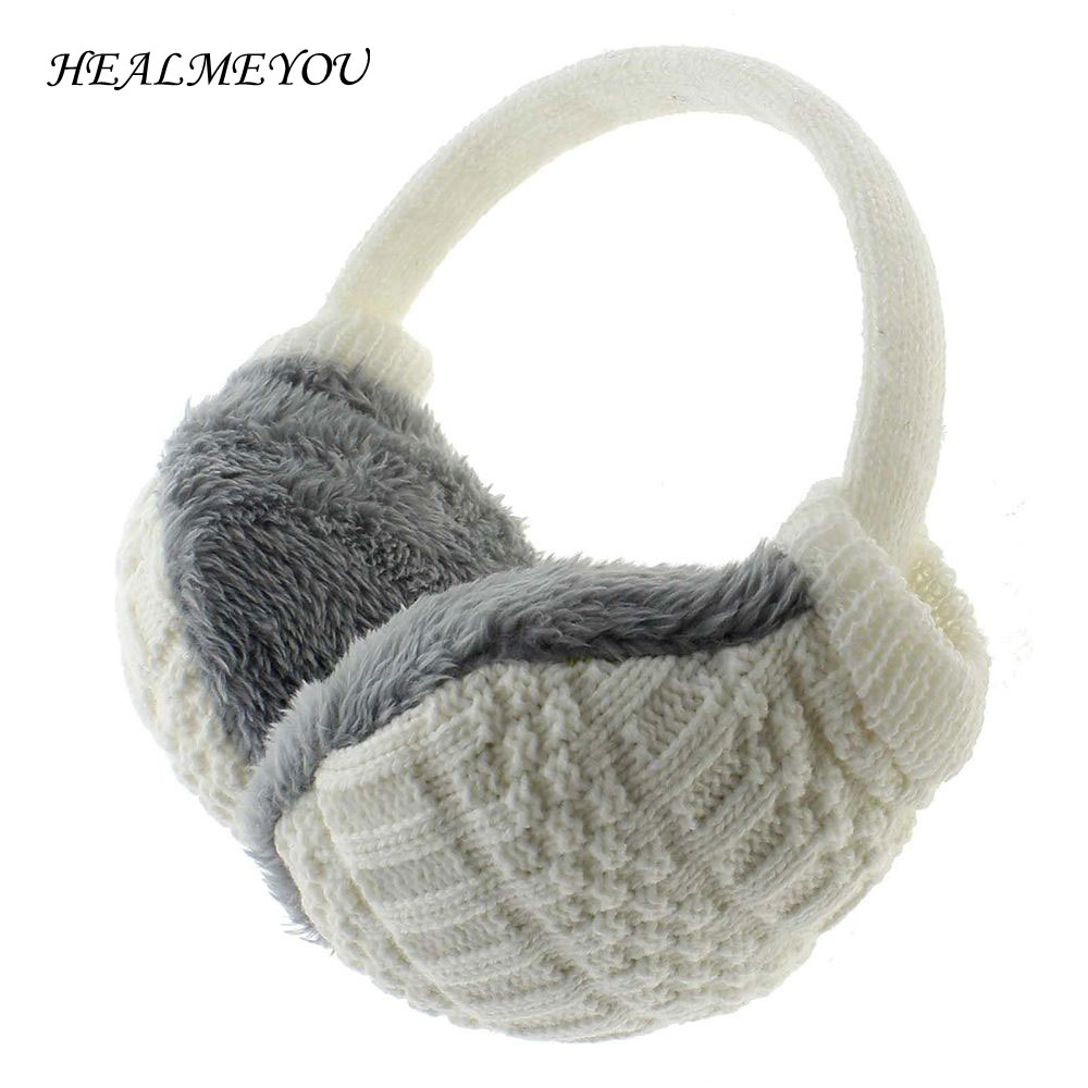 2018 Winter Earmuffs For Women Man Adult Earwarmers Ear Muffs Earflap Warmer Headband Round Ear Cover Knitted Plush Hot Sale