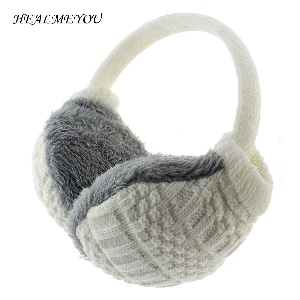 2018 Winter Earmuffs For Women Man Adult Earwarmers Ear Muffs Earflap Warmer Headband Round Ear Cover Knitted Plush Hot Sale